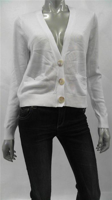 Michael Kors Buttoned Petite Womens Cardigan Sweater Sz PM White
